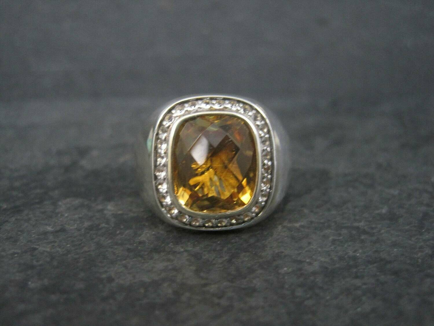 Chunky Vintage Sterling Citrine Ring Size 7