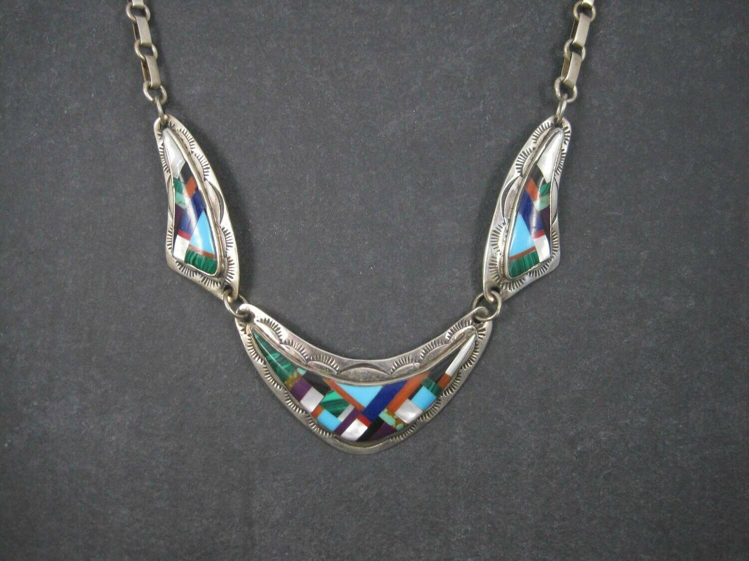 Vintage Southwestern Sterling Inlay Necklace Signed 22 Inches