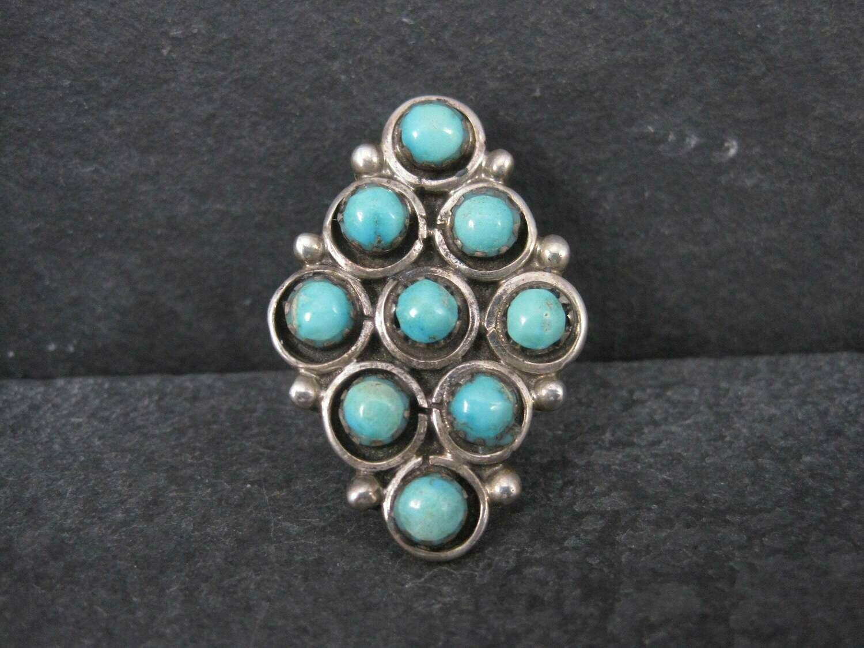 Large Vintage Native American Snake Eyes Turquoise Ring Size 7