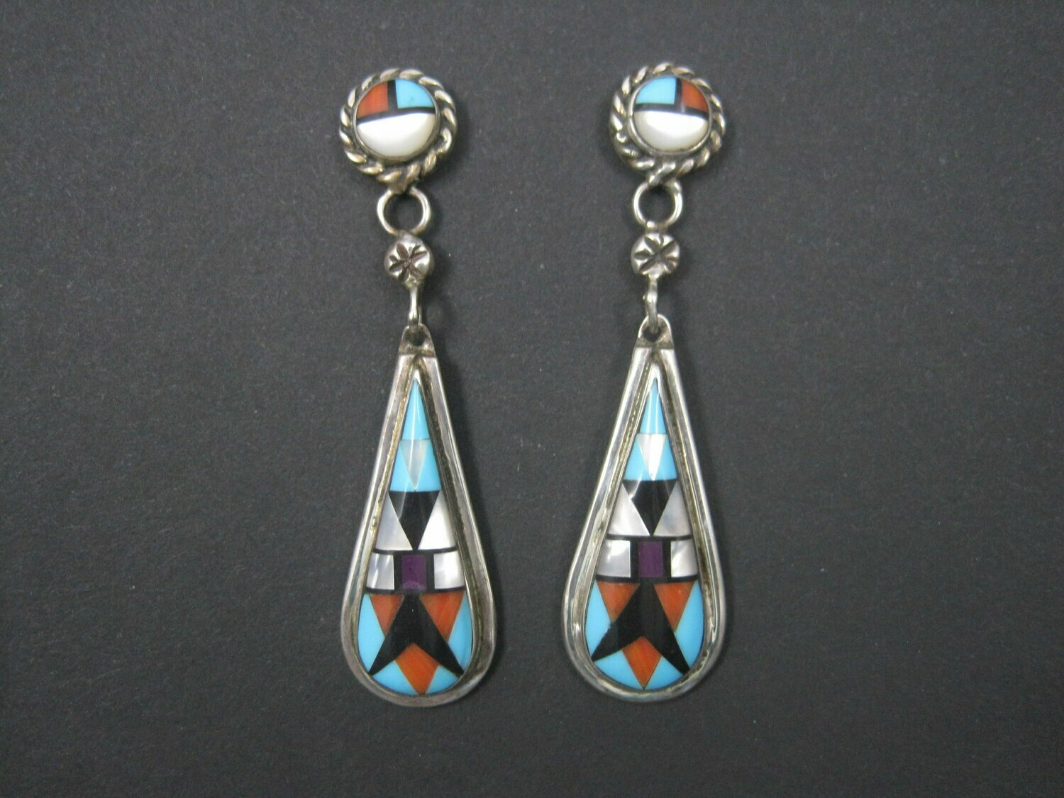Long Vintage Southwestern Sterling Inlay Earrings