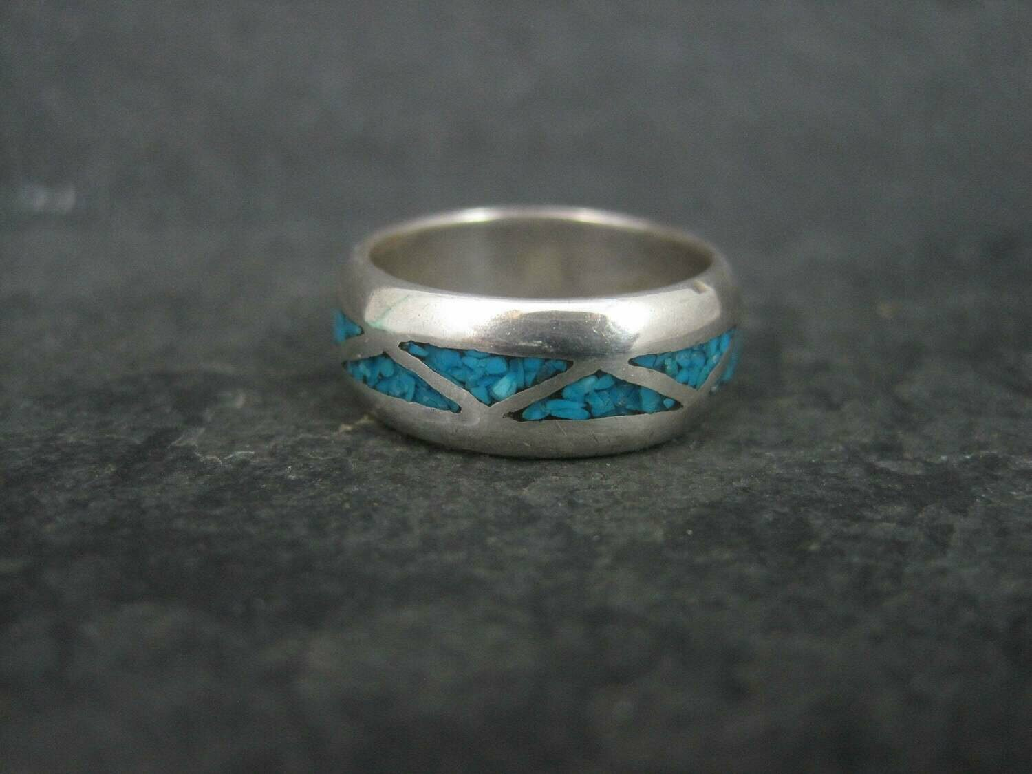Crushed Turquoise Inlay Ring Sterling Size 6