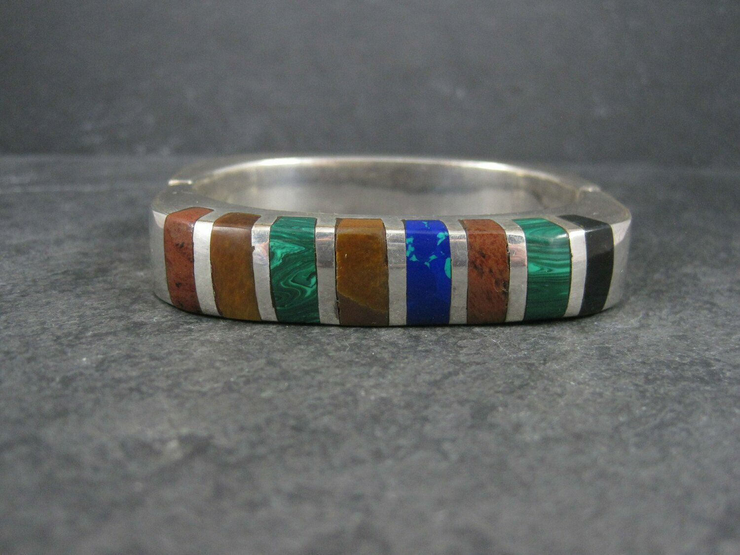 Heavy Mexican Sterling Inlaid Bangle Bracelet