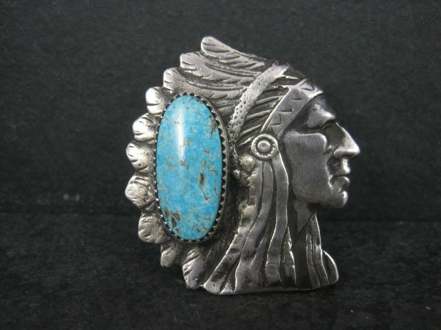 Huge Navajo Turquoise Chieftain Indian Head Ring Size 8