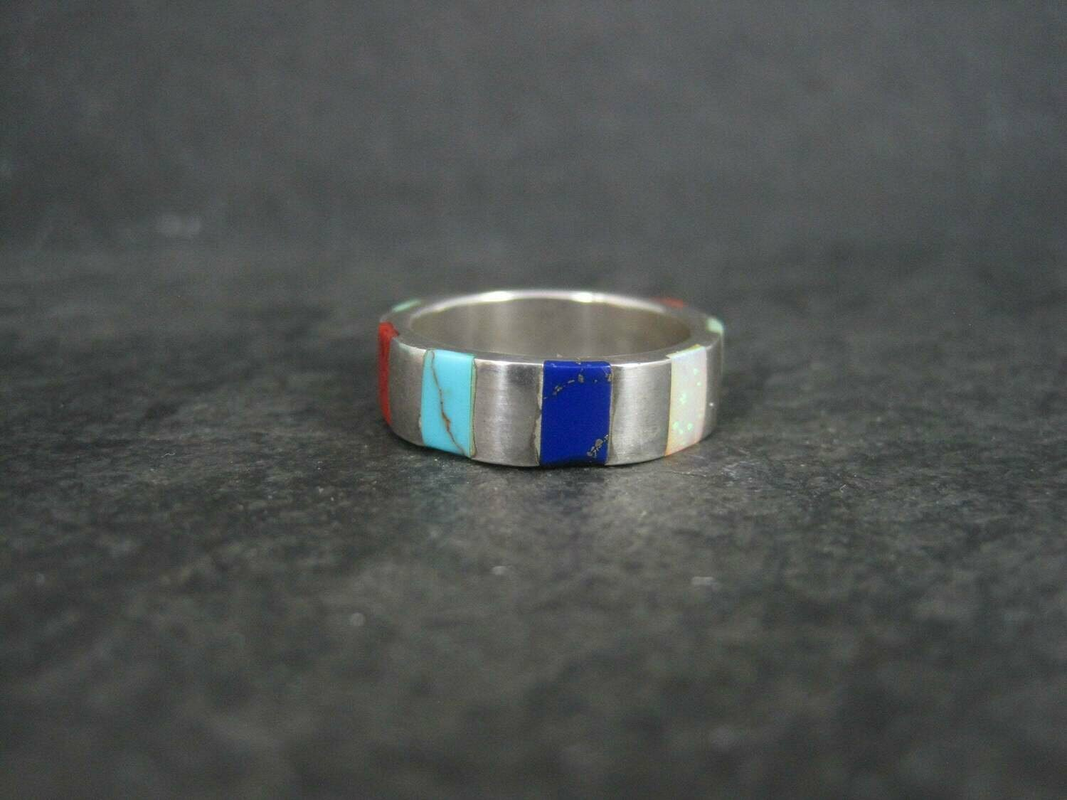 Inlay Band Ring Southwestern Sterling Size 7