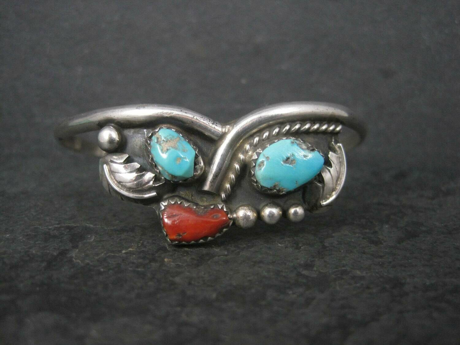 Vintage Southwestern Sterling Turquoise Coral Cuff Bracelet 6.25 Inches