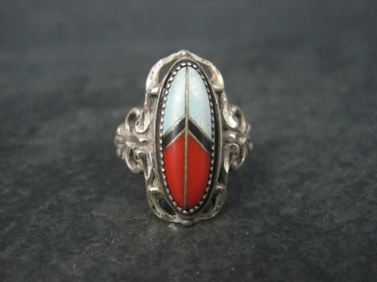 Vintage Southwestern Sterling Inlay Peace Sign Ring Size 6