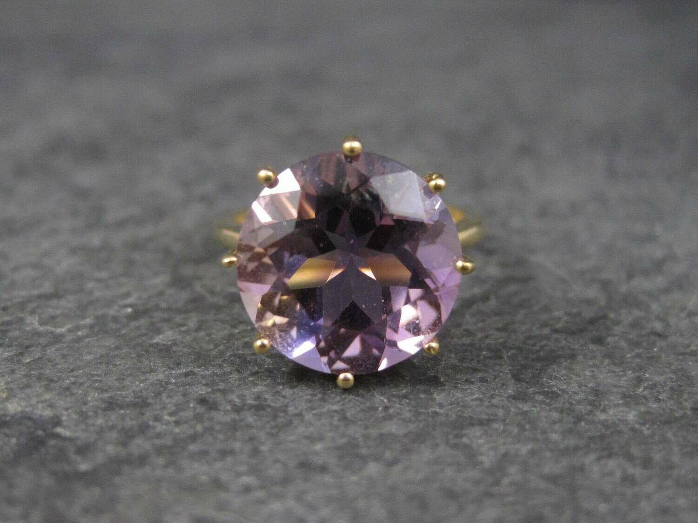 Huge Vintage 10K Amethyst Engagement Ring Size 5