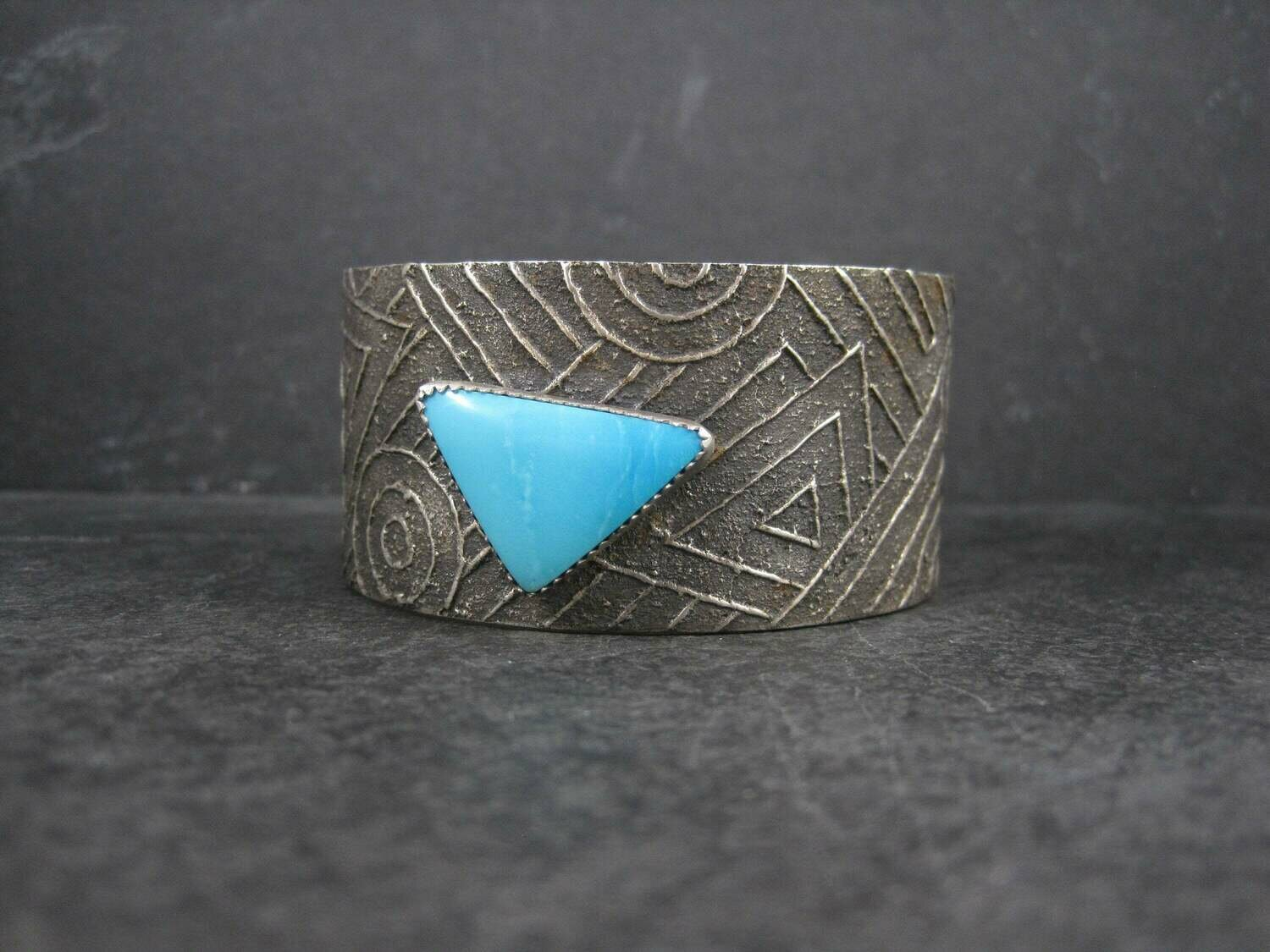 Wide Sterling Tufa Cast Turquoise Cuff Bracelet 7 Inches