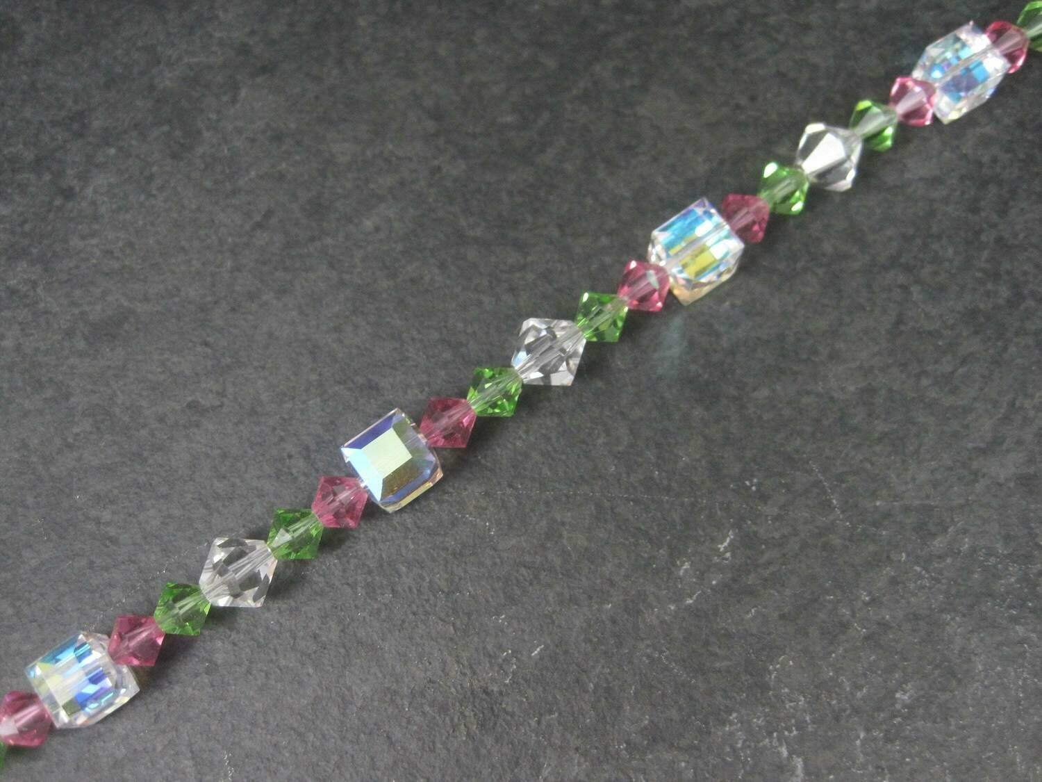 Pink Green Crystal Toggle Bracelet 8 Inches