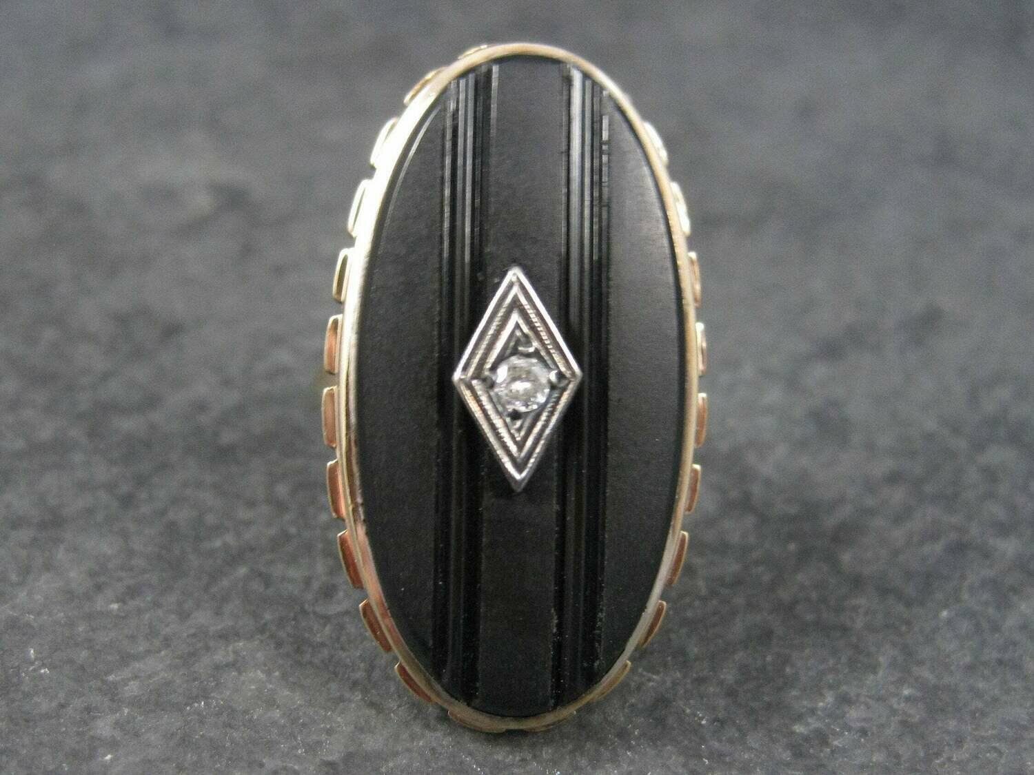 Antique 12K Carved Onyx Diamond Ring Size 5
