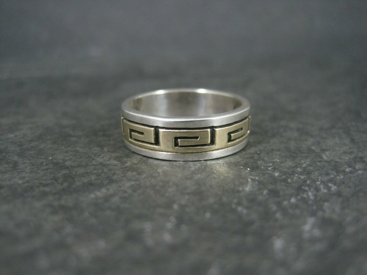 Vintage Sterling 14K Greek Key Band Ring Size 8 Navajo Scott Skeets