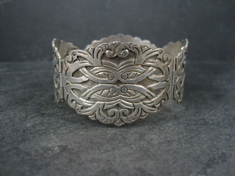 Ornate Vintage Mexican Sterling Panel Bracelet 7 Inches Ruiz