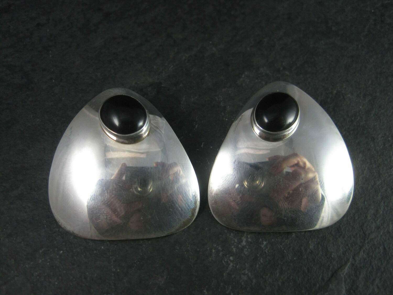 Large Vintage Sterling Navajo Onyx Earrings