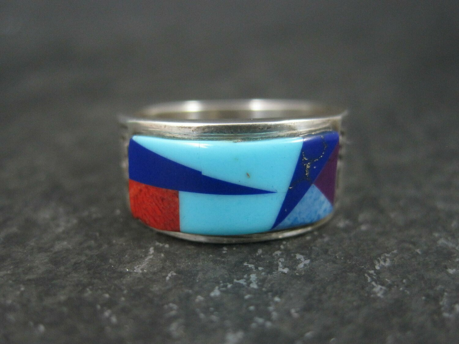 Vintage Southwestern Sterling Inlay Ring Size 5.5