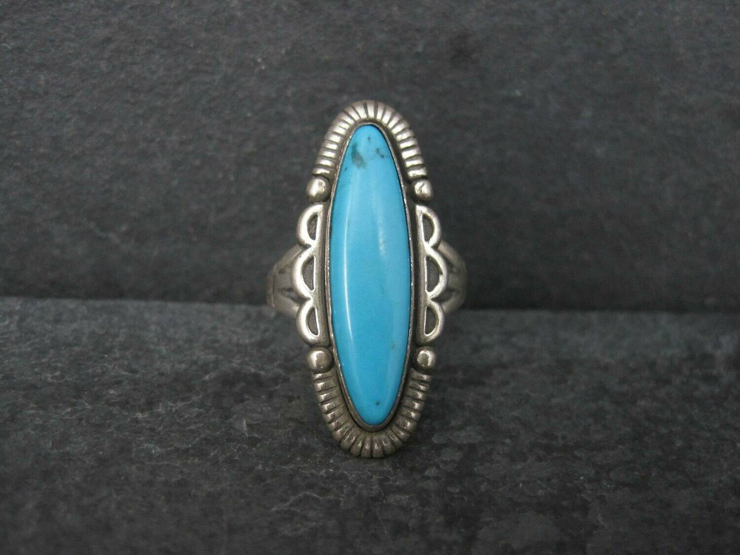 Vintage Turquoise Ring Size 6 Southwestern Sterling Silver