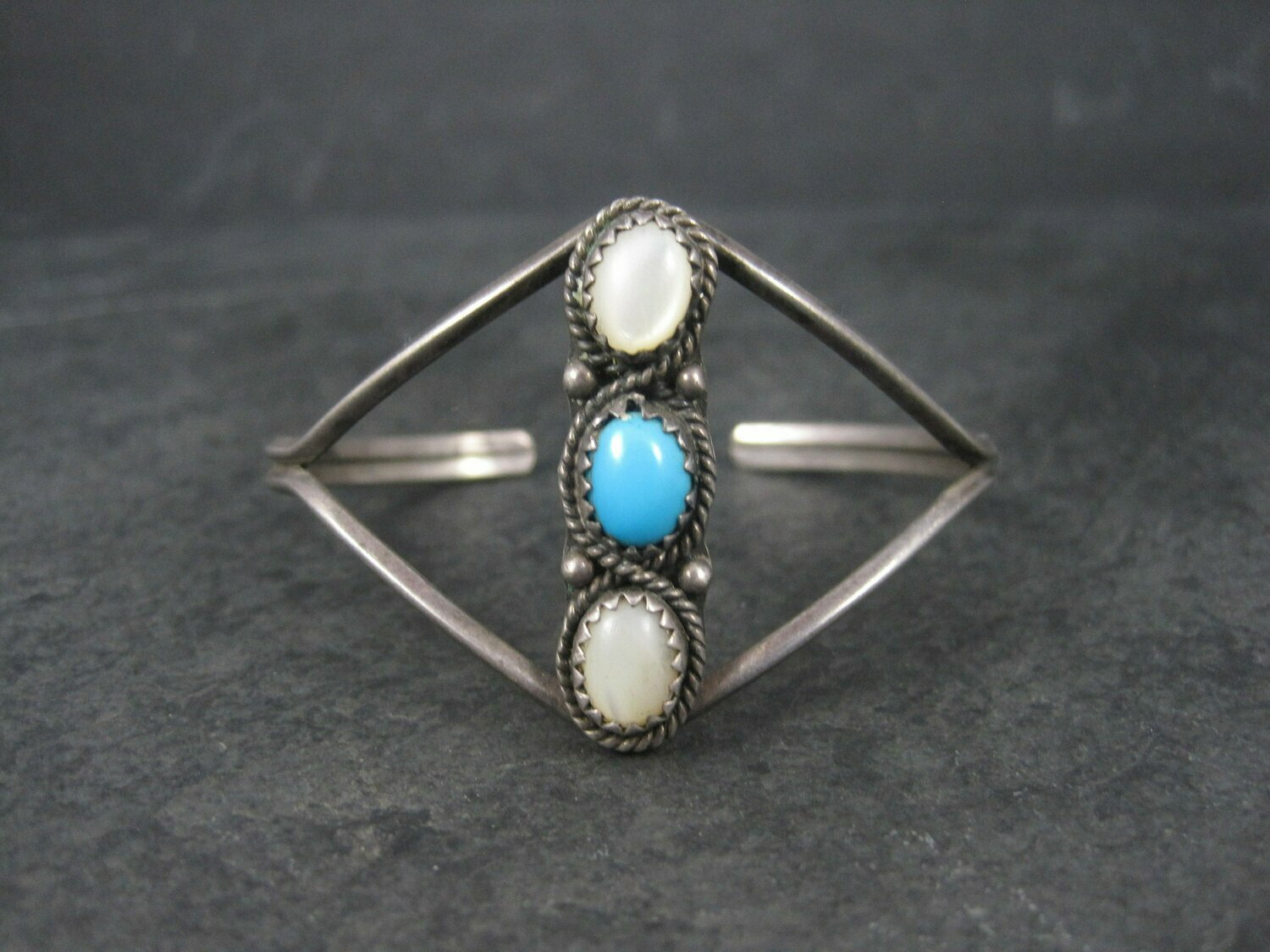 Small Vintage Southwestern Sterling Mother of Pearl Turquoise Cuff Bracelet 5.5 Inches