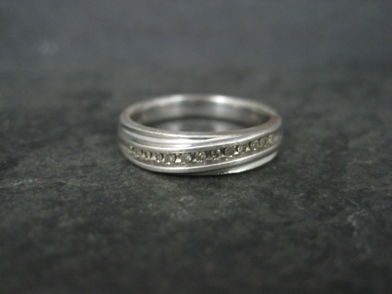 Vintage Sterling Diamond Wedding Band Size 6.75