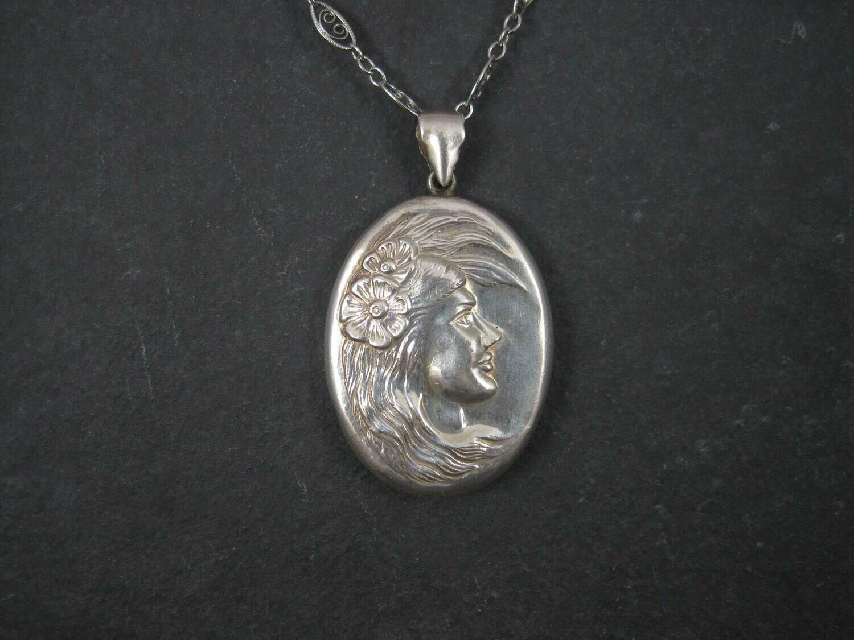 Vintage Sterling Art Nouveau Lady Pendant Filigree Necklace