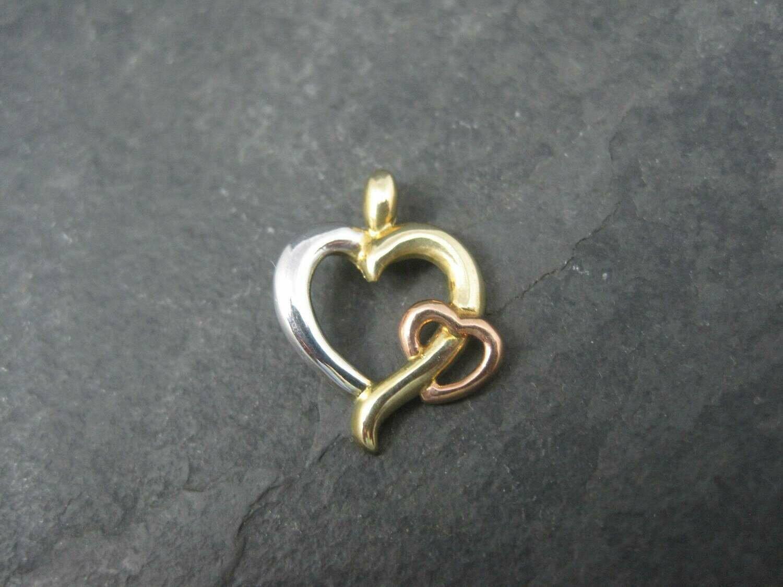 Vintage 10K Rose Yellow White Gold Heart Pendant