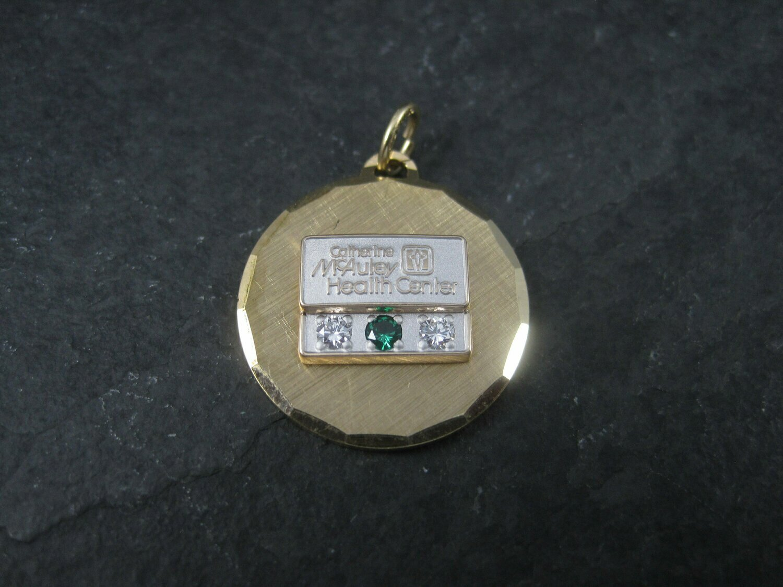 Vintage Catherine McAuley Health Center Diamond Emerald Service Pendant