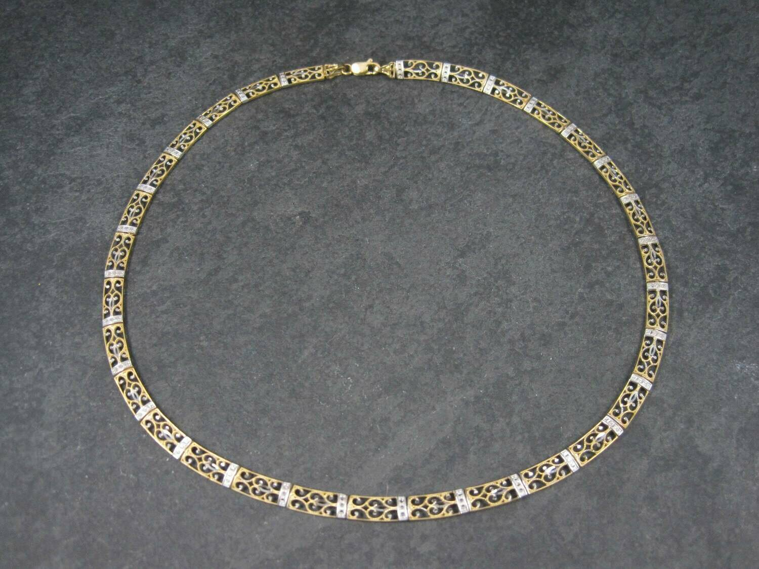 Vintage 10K Two Tone Filigree Necklace 17 Inches