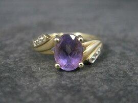 Vintage 10K Amethyst Diamond Ring Size 7