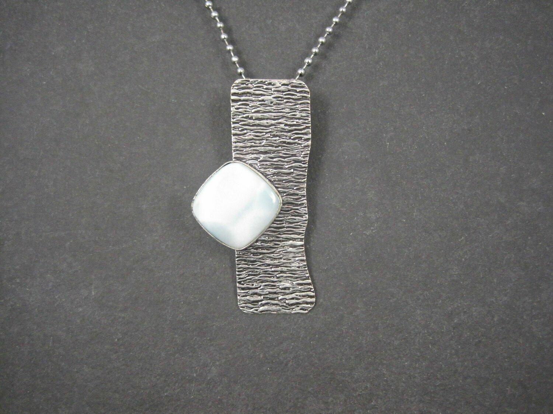 Unusual Sterling Modernist Larimar Pendant Necklace