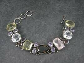 Vintage Sterling Gemstone Garnet Rose Quartz Citrine Bracelet