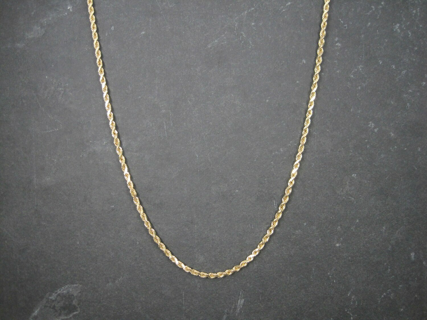 Vintage 14K 3.5mm Rope Chain Necklace 29 Inches 34.3 Grams