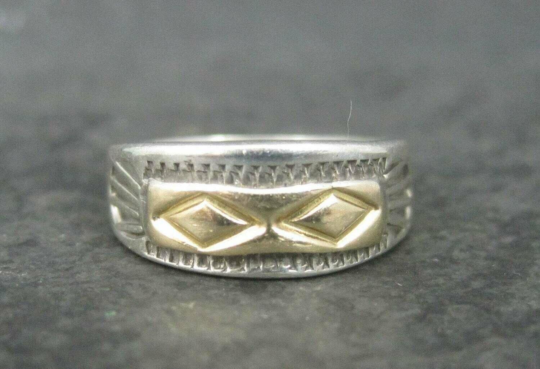 Vintage Southwestern Sterling 14K Band Ring Size 5.5