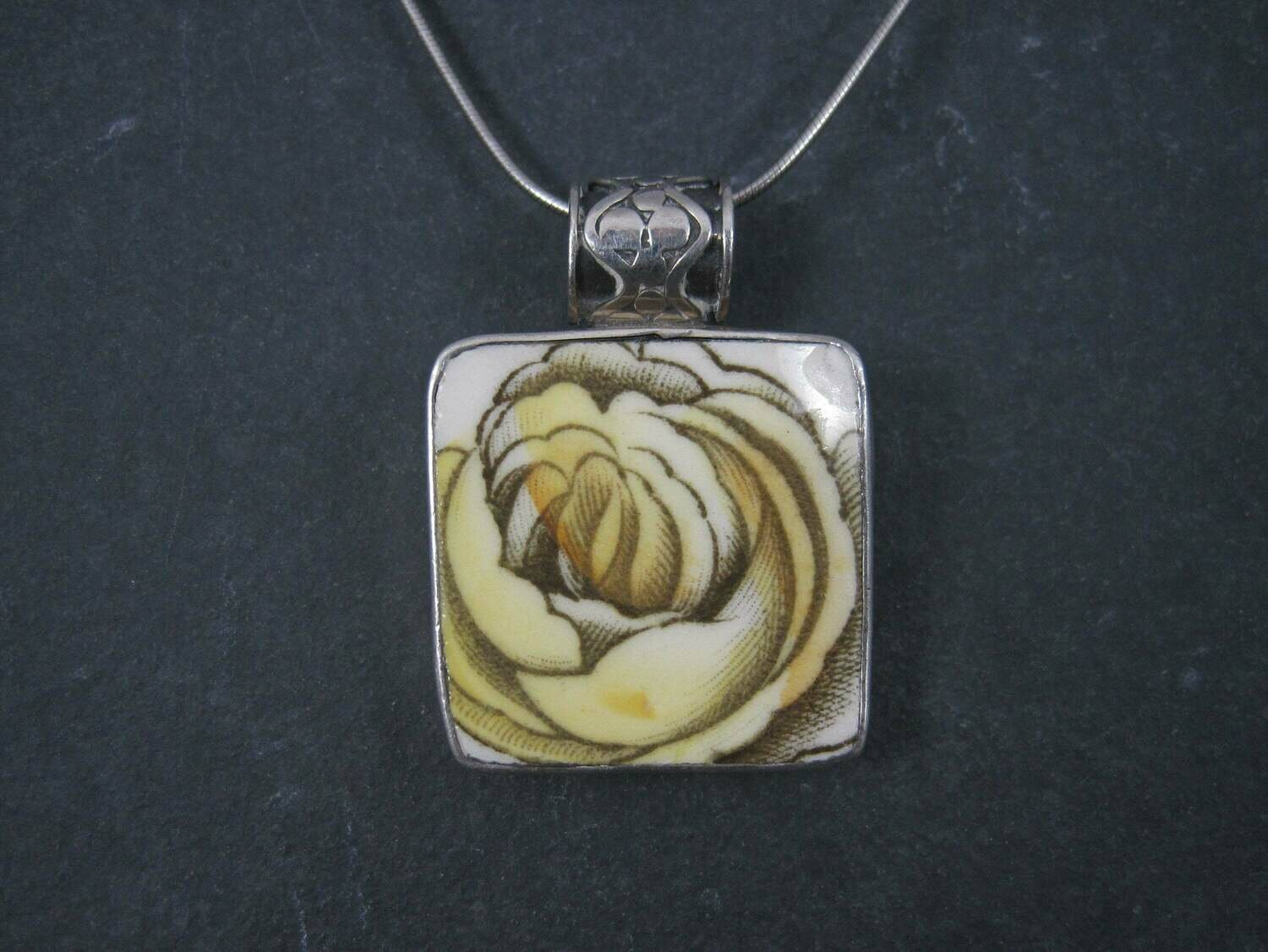 Vintage Sterling Yellow Rose Pottery Pendant Necklace