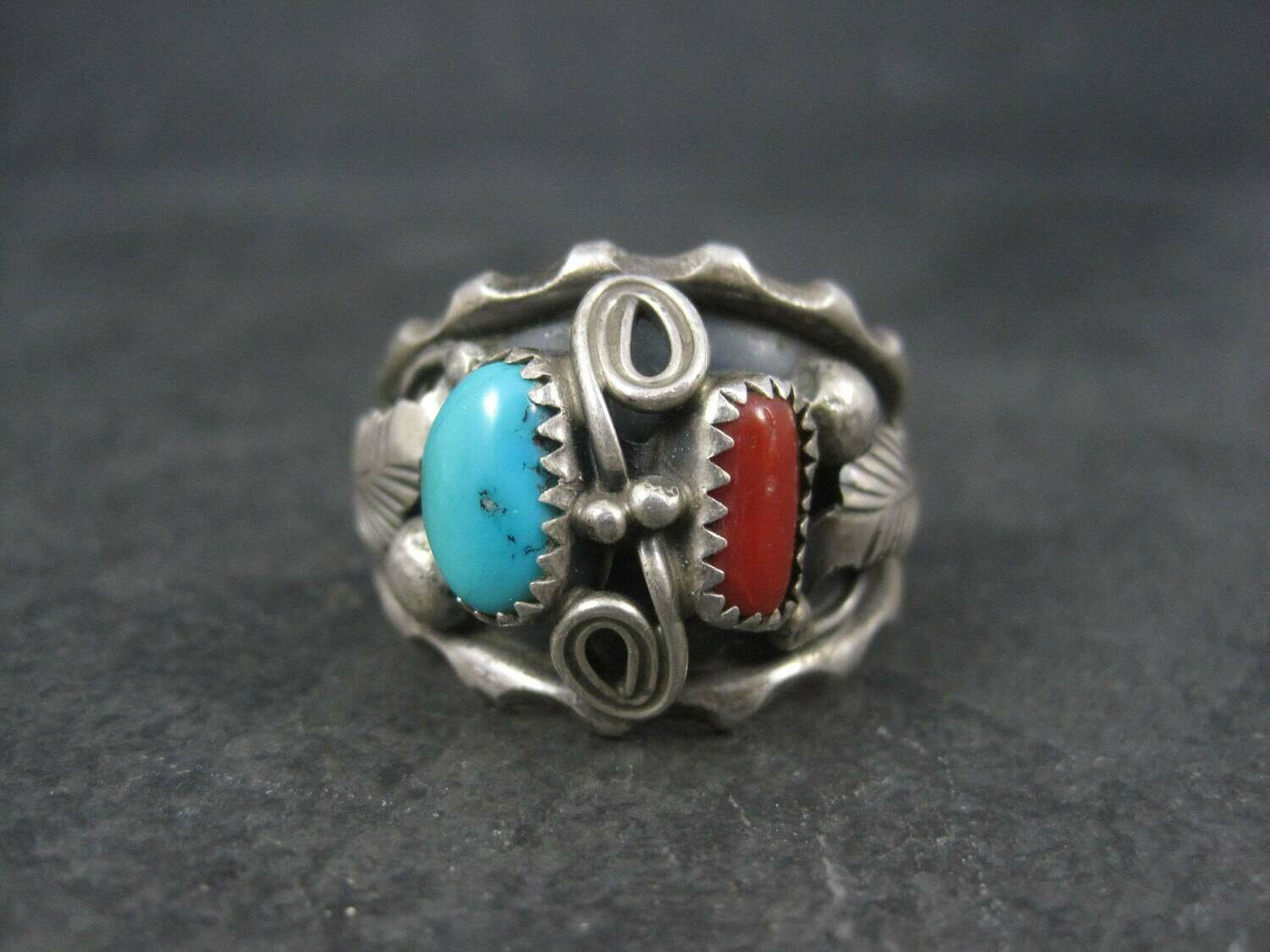 Mens Vintage Navajo Turquoise and Coral Ring Size 13