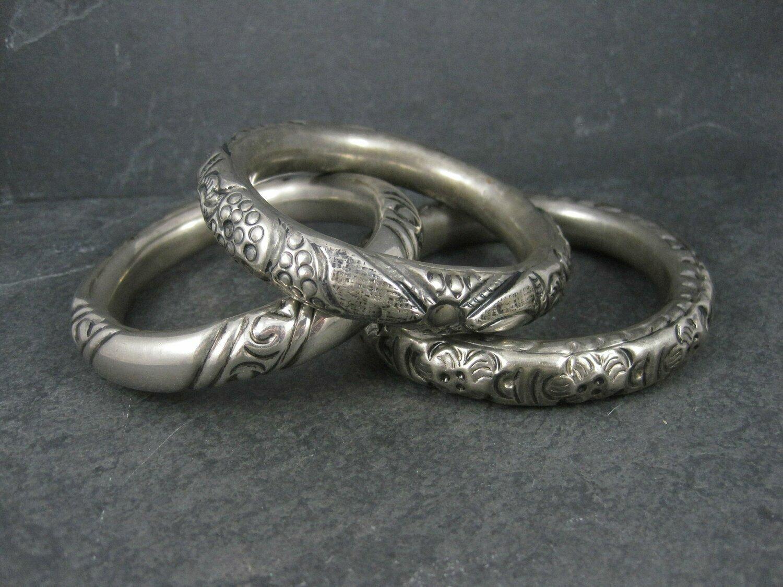 Lot of 3 Chunky Silver Plated Tribal Bangle Bracelets