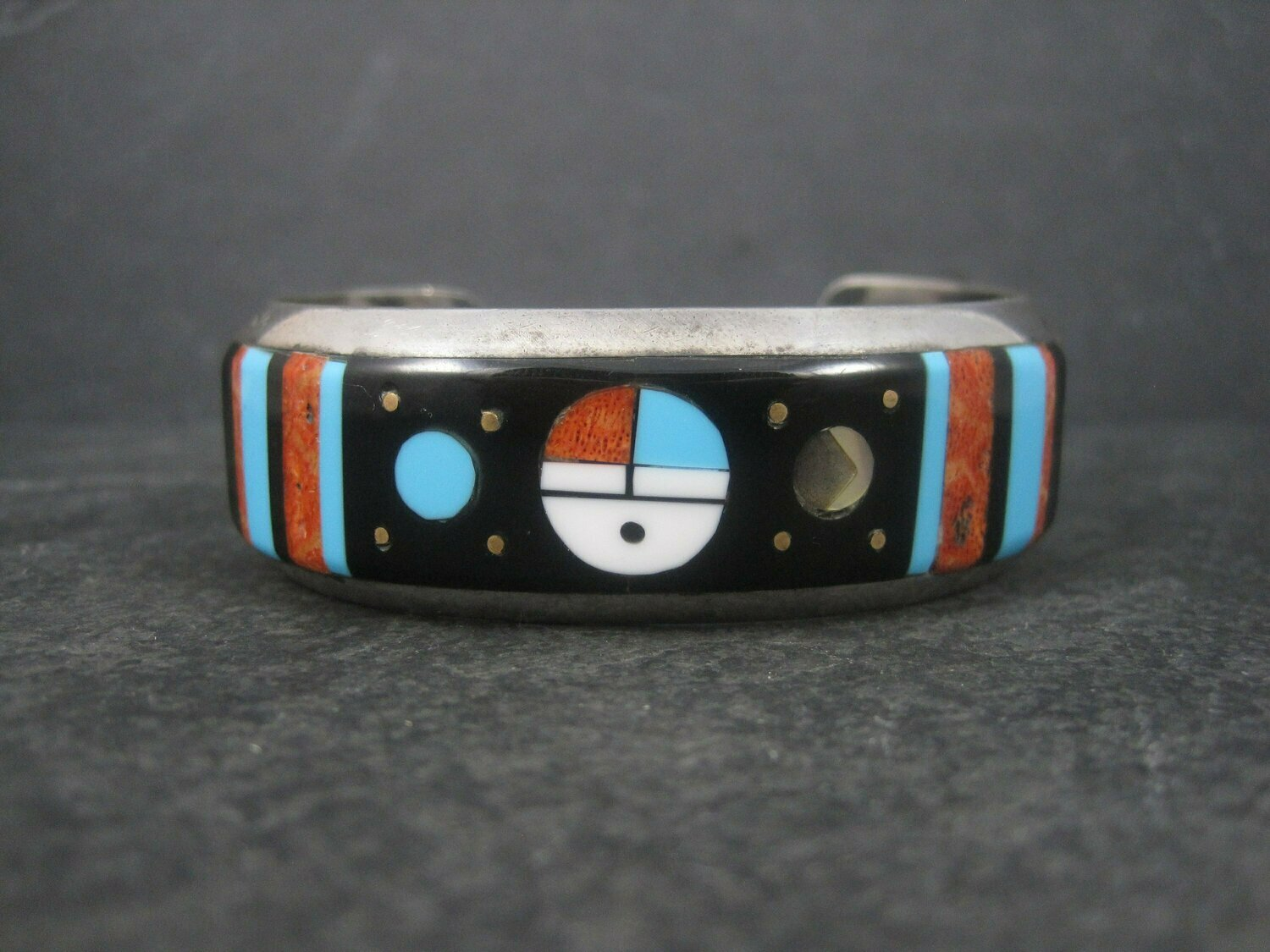 Vintage Navajo Sunface Inlay Cuff Bracelet Willie Shaw 6.5 Inches