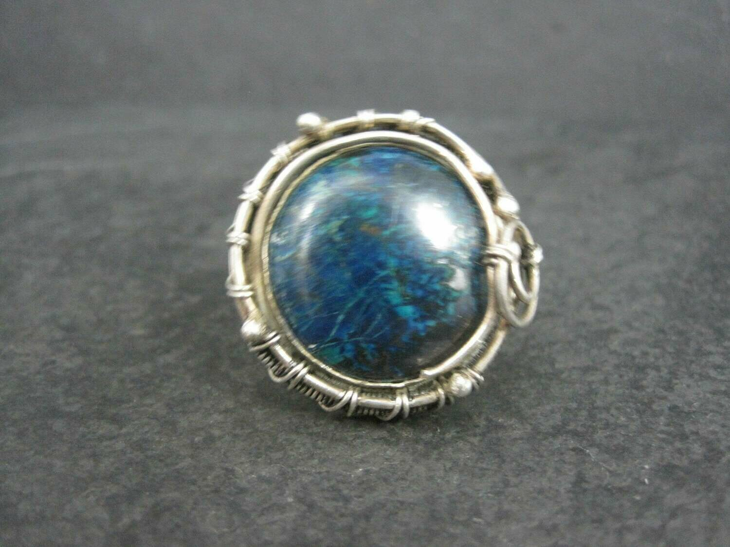 Huge Sterling Chrysocolla Wire Wrapped Ring Size 8