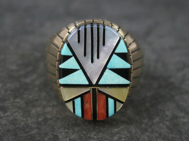 Mens Vintage 14K Southwestern Inlay Ring Size 11