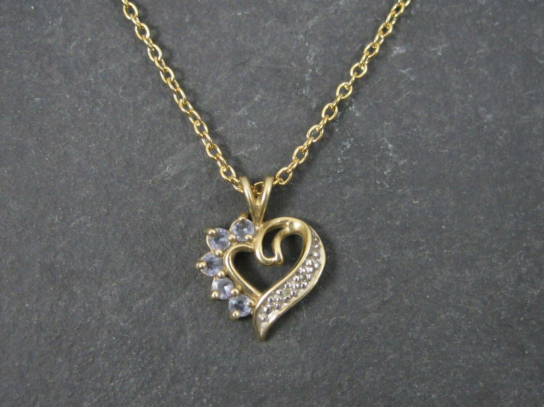 Small Vintage 10K Tanzanite Heart Pendant