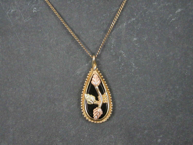 Vintage 10K Black Hills Gold Onyx Pendant Necklace
