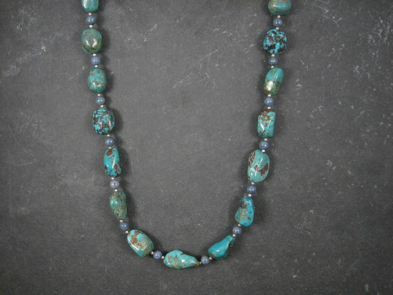 Vintage Denim Lapis Turquoise Bead Necklace 23 Inches