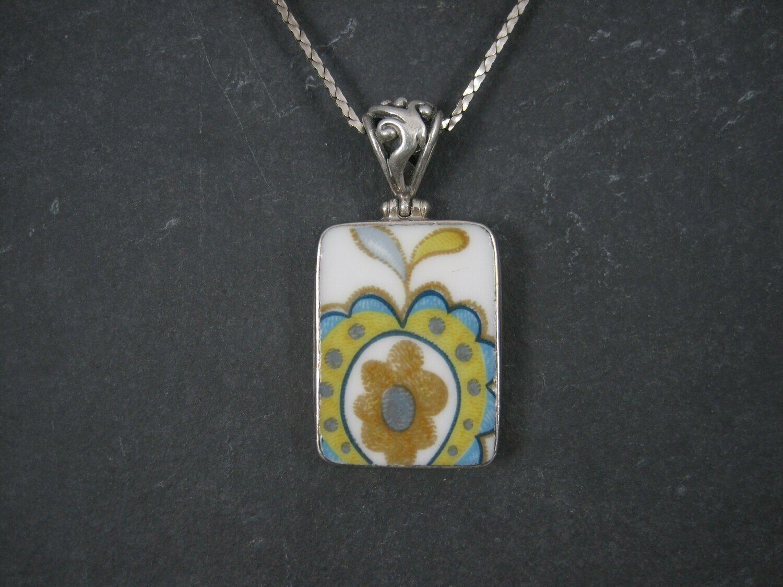 Vintage Sterling Floral Pottery Pendant Necklace
