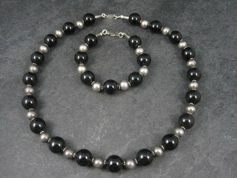 Vintage Black Sterling Bead Necklace and Bracelet Set