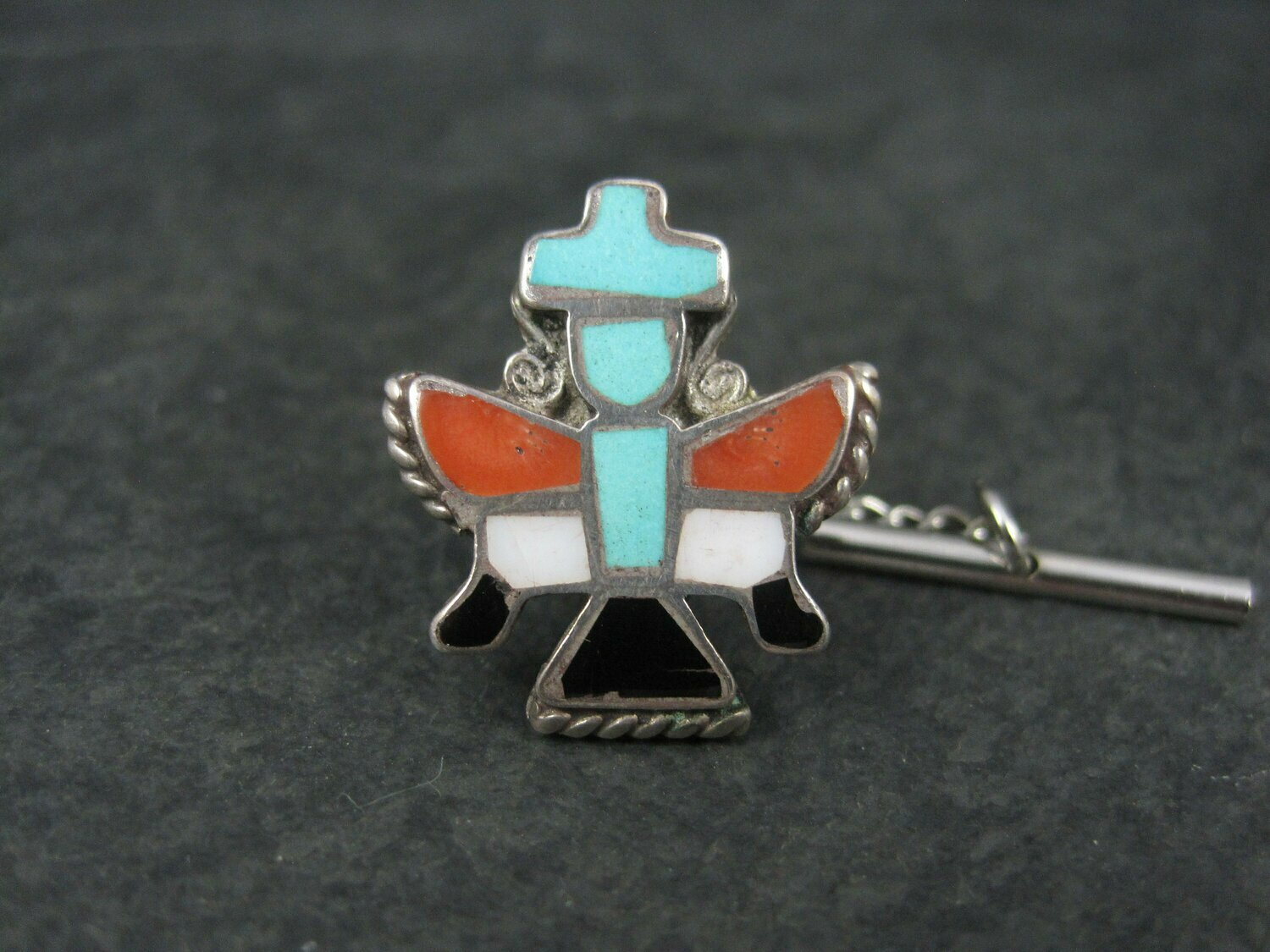 Vintage Sterling Turquoise Coral Inlay Knifewing Tie Tack