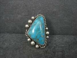 Large Vintage Southwestern Sterling Turquoise Ring Size 6.5