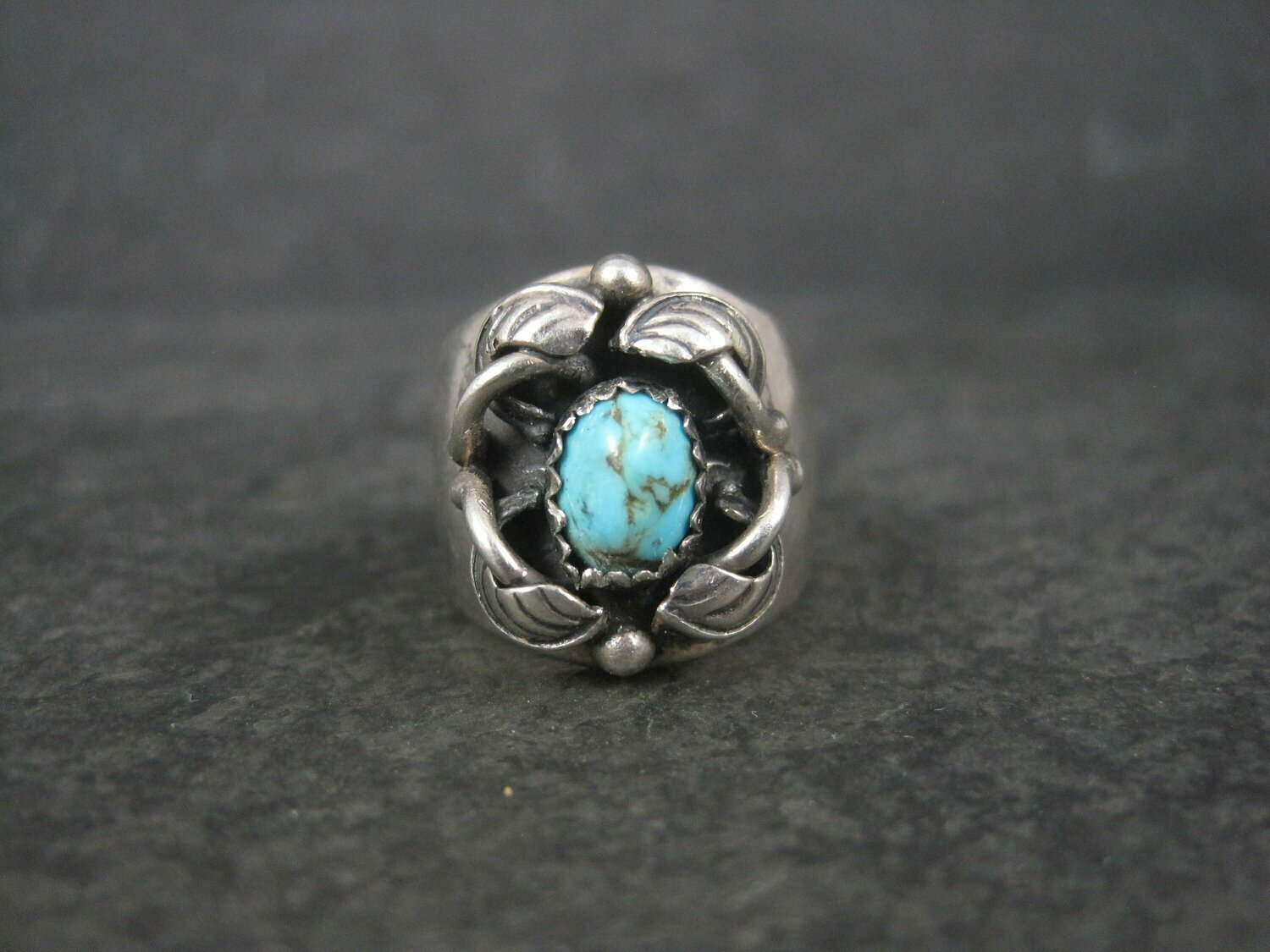 Wide Vintage Southwestern Sterling Turquoise Ring Size 7
