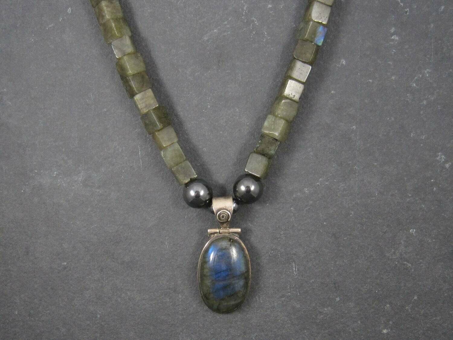 Chunky Sterling Labradorite Necklace