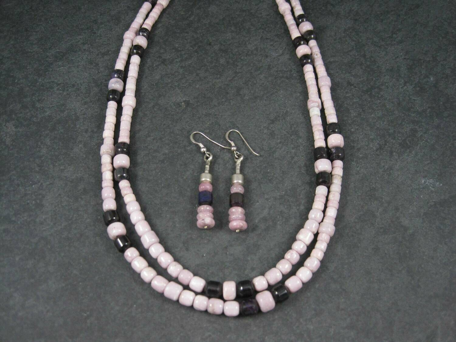 Vintage Sterling Navajo Pink Opal Sugilite Necklace Leonard Platero New Old Stock