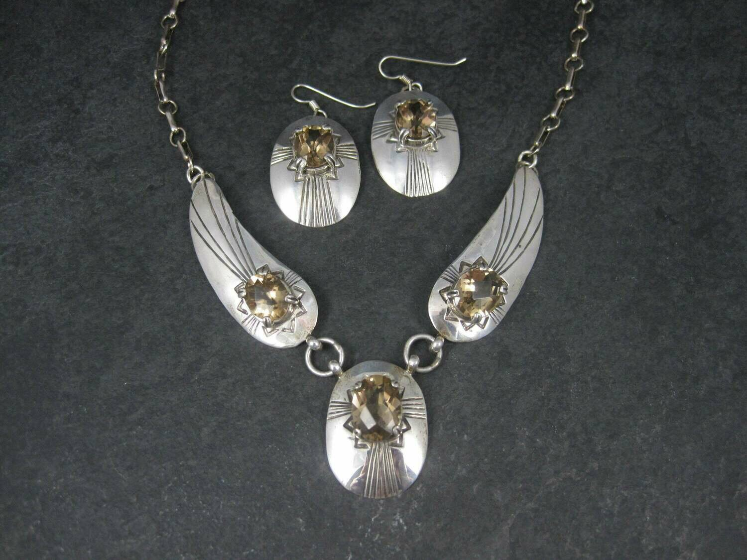 Vintage Southwestern Sterling Citrine Necklace Earrings Jewelry Set