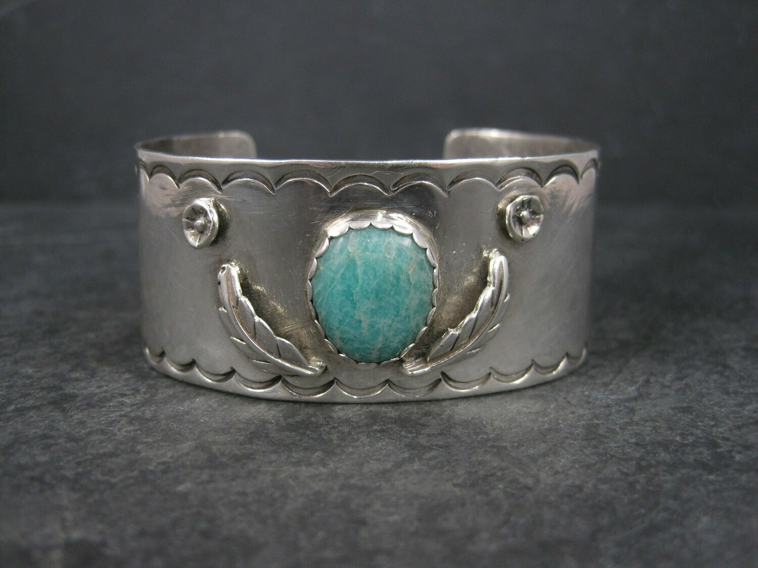 Vintage Southwestern Sterling Feather Cuff Bracelet 6 Inches