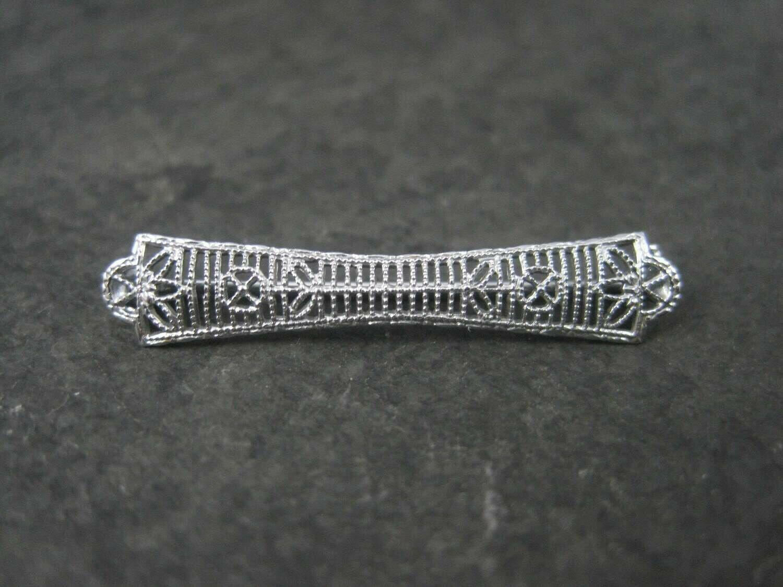 Small Antique 10K White Gold Filigree Bar Pin