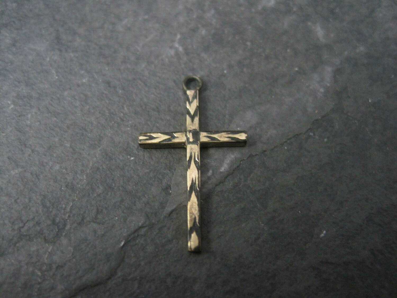 Dainty Antique 10K Cross Pendant Charm